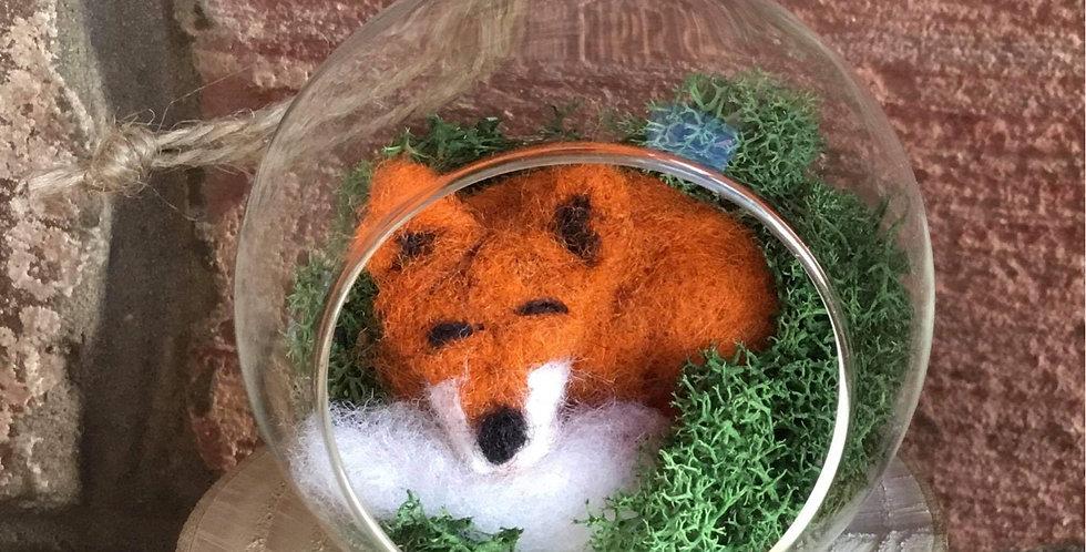 Fox bauble in needle felt