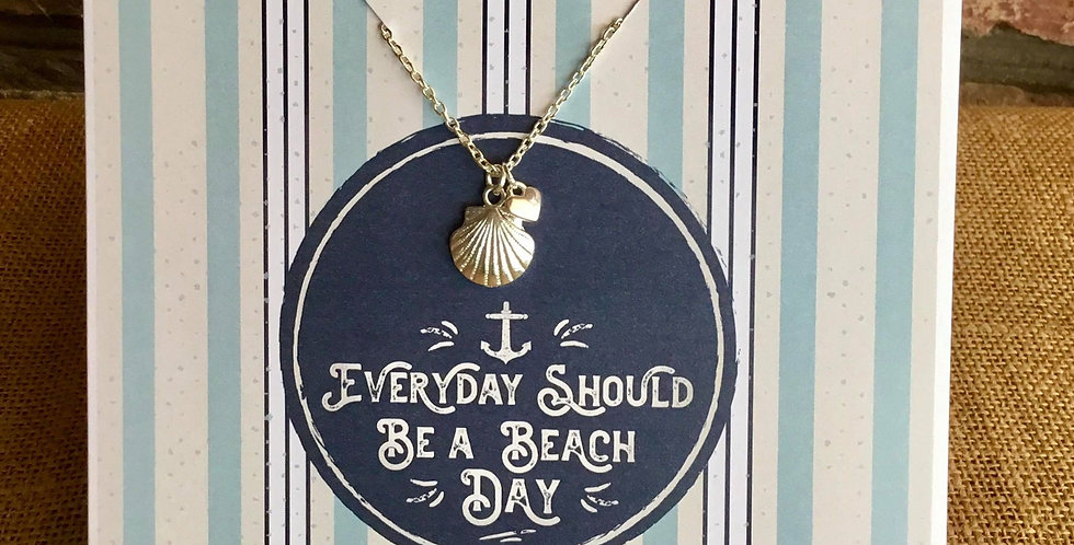 """Silver Plated 16"""" Chain and Shell Charm Greetings Card"""