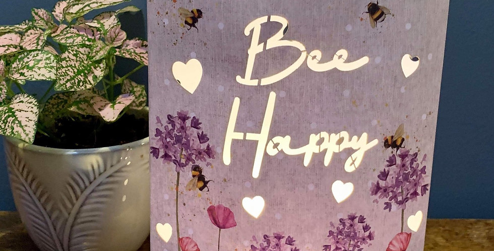 Pretty Bee Happy LED lantern