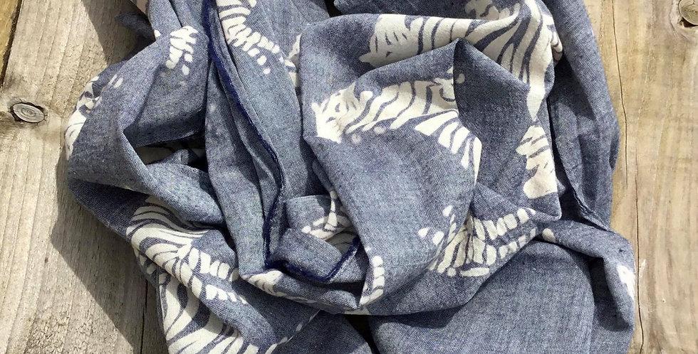 Grey Blue Scarf Featuring Zebras
