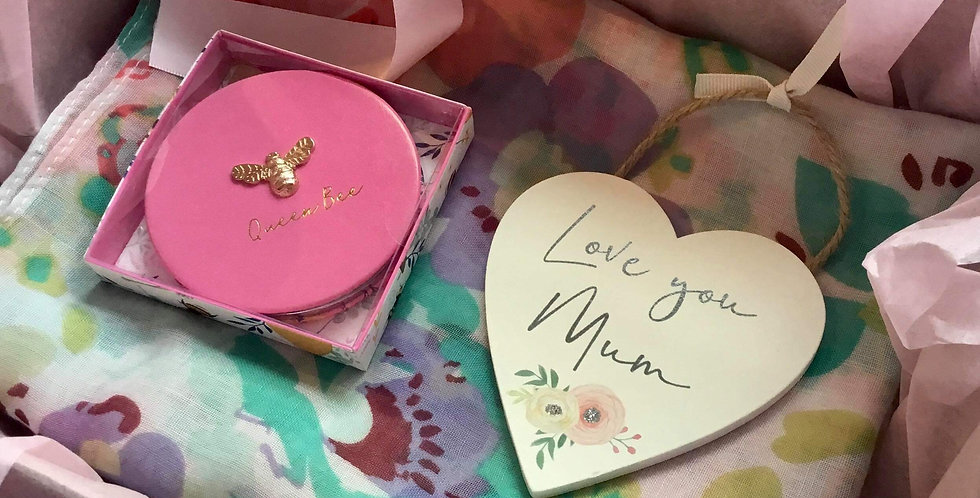 Gift Set of Floral Scarf, Compact and Heart
