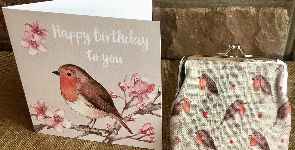 Robin Snap Pocket Purse with Robin Birthday Card