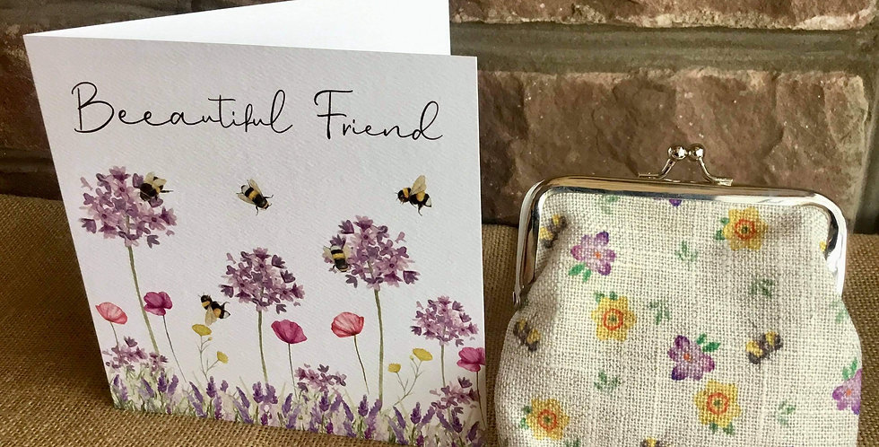 Bees Snap Pocket Purse with  Beeautiful Friend Card