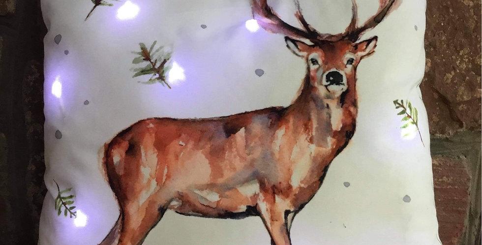 LED Christmas Stag Cushion