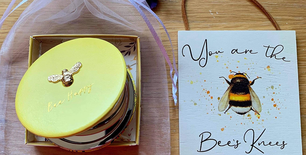 Yellow Bee Compact and plaque - Bees Knees