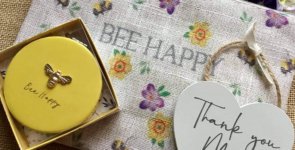 Bee Happy Linen Cosmetic Bag, Thank You Mum sign and Compact