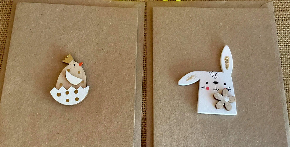 Pair Easter Cards - Bunny and Chick in Egg