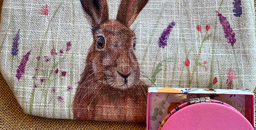Country Hare Linen Cosmetic Bag and Pink Compact Mirror