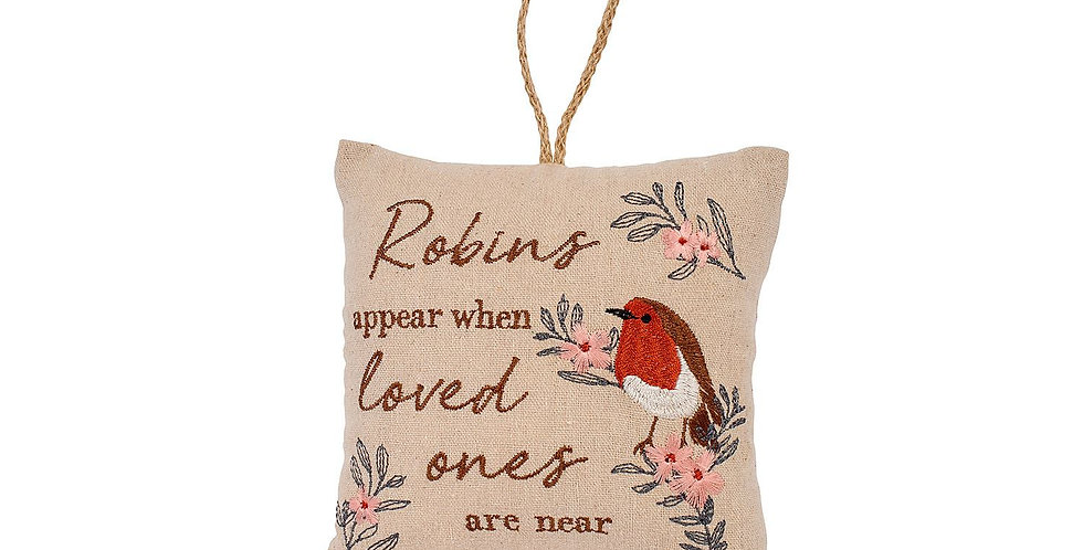 Sweet Robin cushion hanger with pretty sentiments