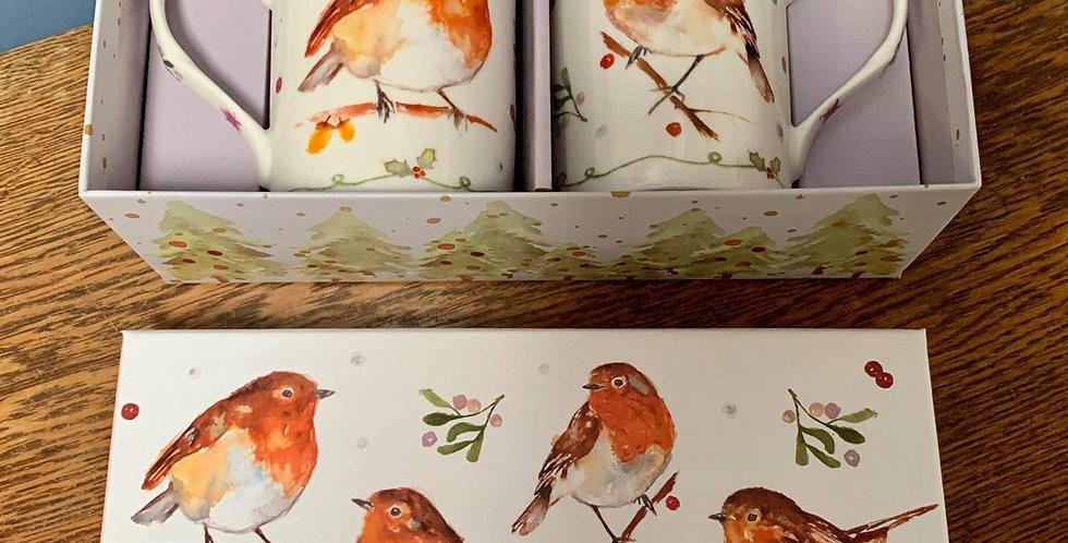 Pair Robin mugs in a gift box