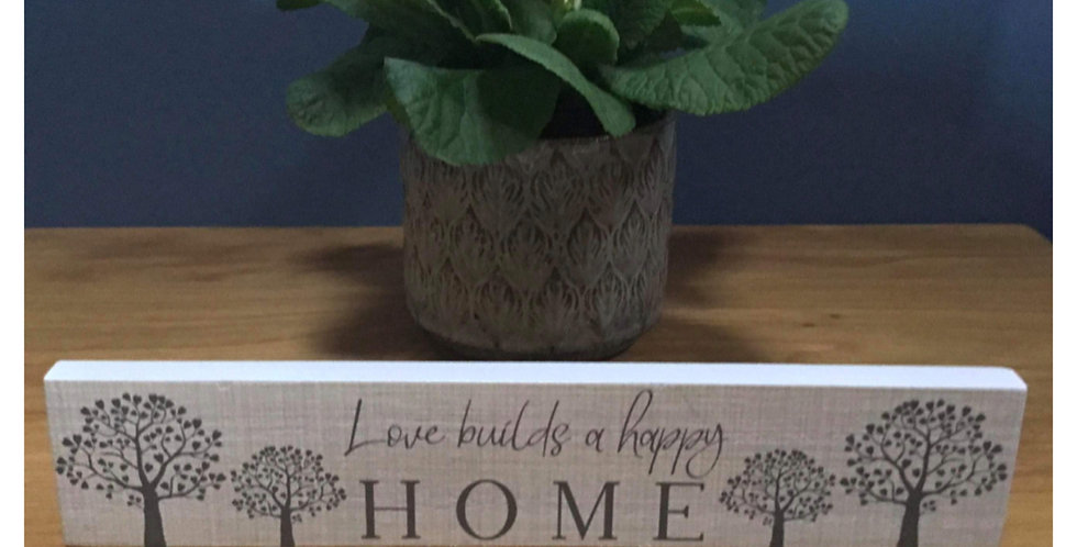 Family Tree Standing Plaque - Love builds a happy home