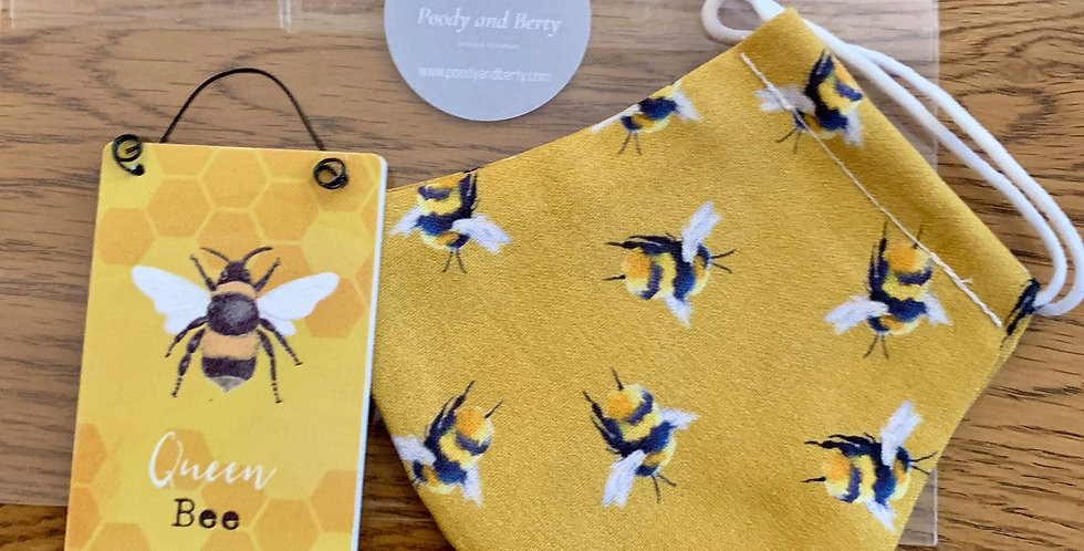 Mustard Bee Face Mask and mini sign gift set