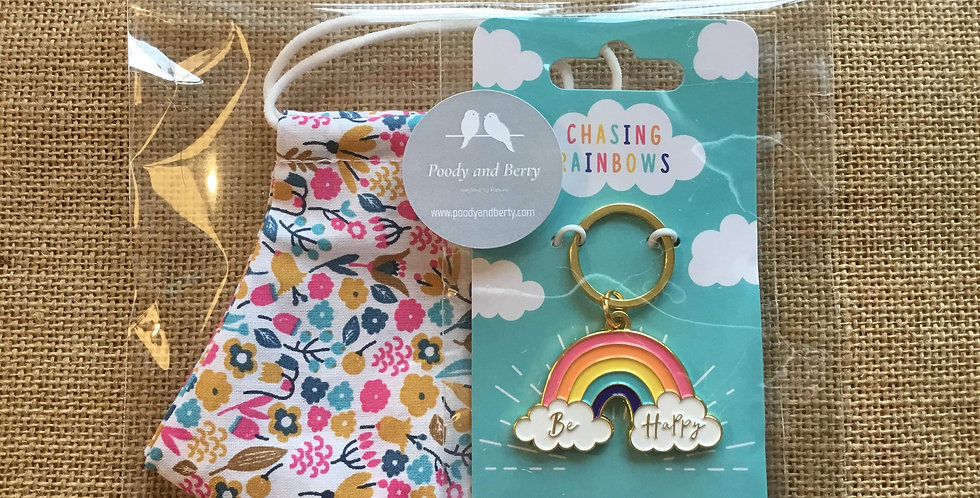 Pink Floral Face Mask and Rainbow Keyring  gift