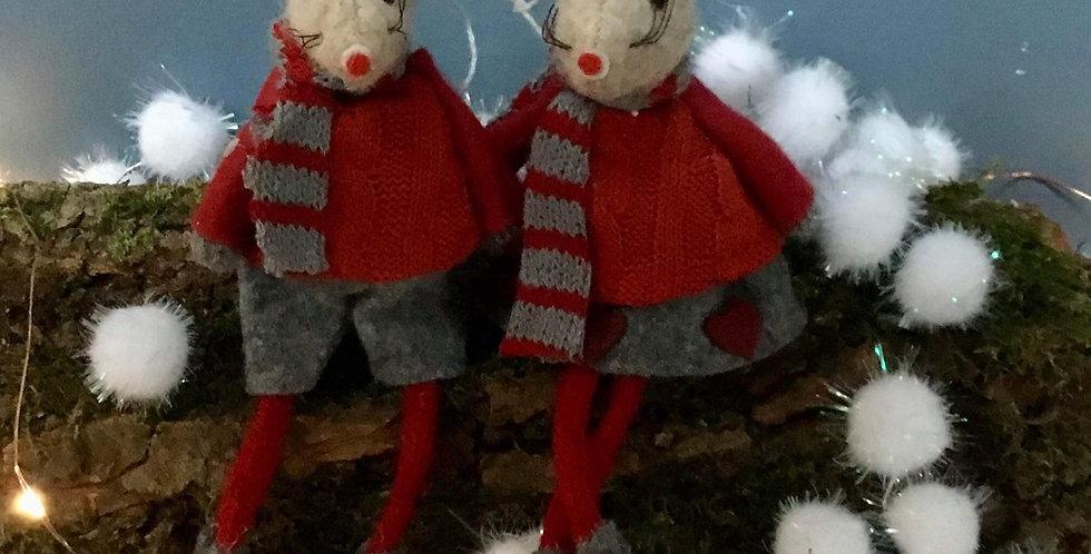 Pair of grey mice in Winter clothes