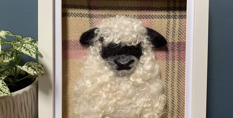Curly Sheep Needle Felt Portrait in white frame