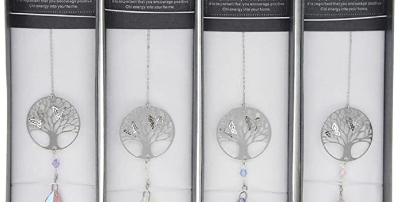 Tree of Life  3D Suncatcher with white Crystal