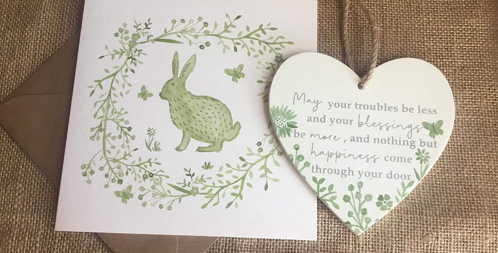Sage Hare Card with Sage Heart ....May your troubles be less