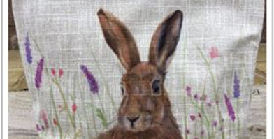 Linen Hare Cosmetic Bag or Pencil Case