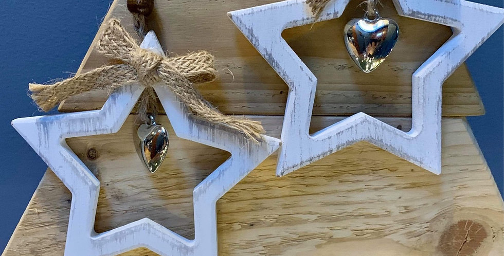 Pair of White Painted Hanging Star Decorations