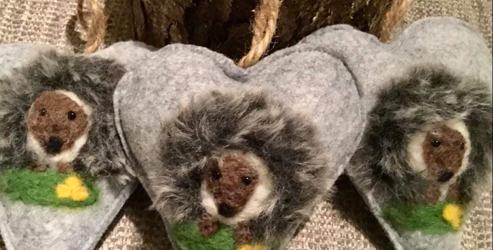 Needle Felt Hedgehog Heart