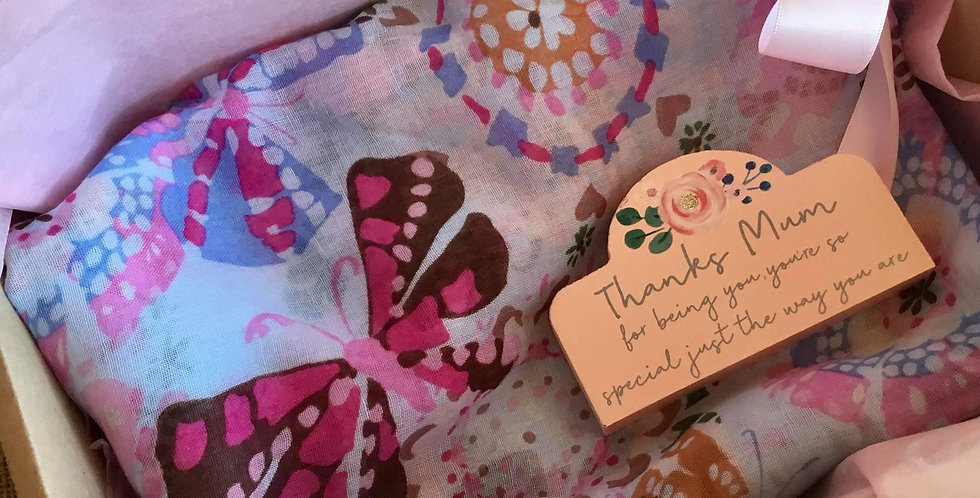 Gift Set of Dragonfly and Butterfly Scarf and Mini Block
