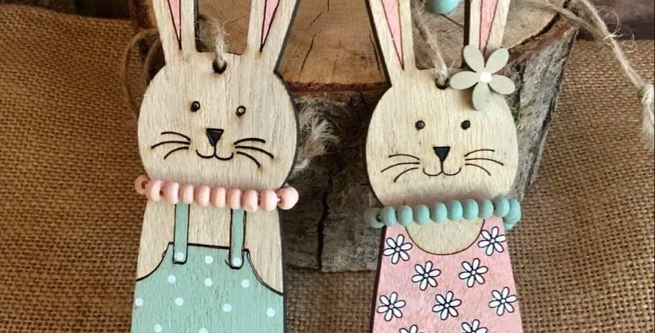 Pair of Wooden Bunny Decorations