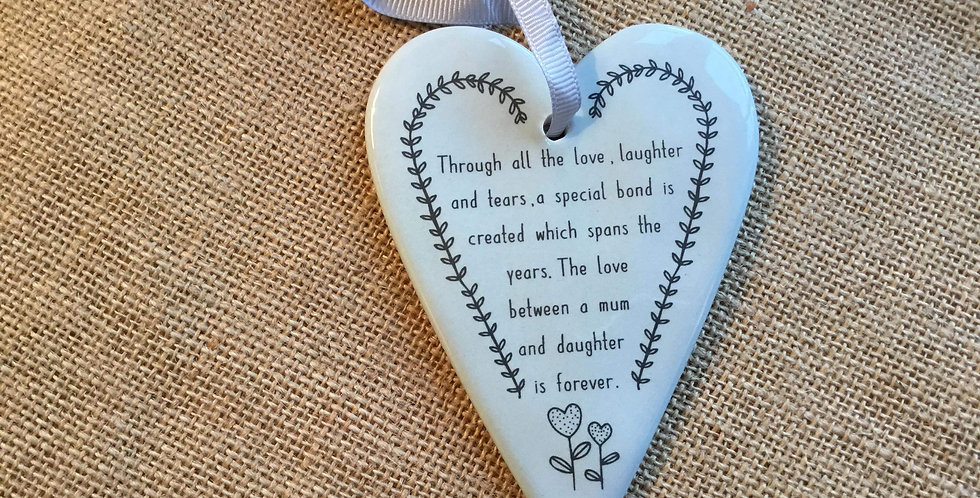 Ceramic Heart with Quote - Through all the love, laughter ....