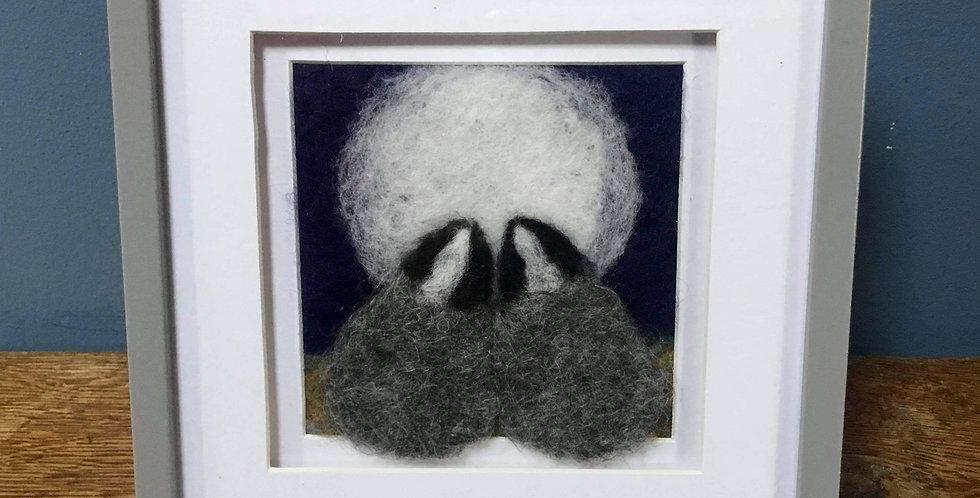 'Moon Gazing Badgers' Needle Felt Art