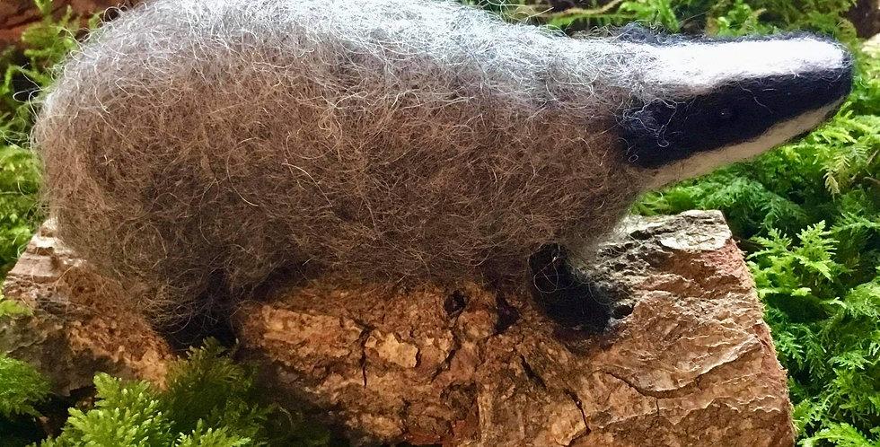 Badger Sculpture Needle Felt Art