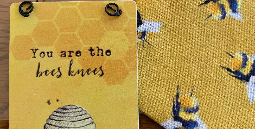 Mustard Bee Face Mask and mini sign gift