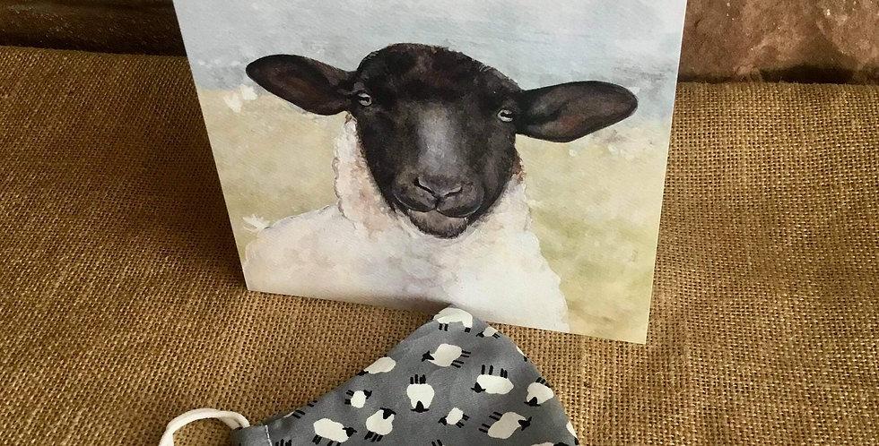 Grey Sheep Mask and Sheep Card