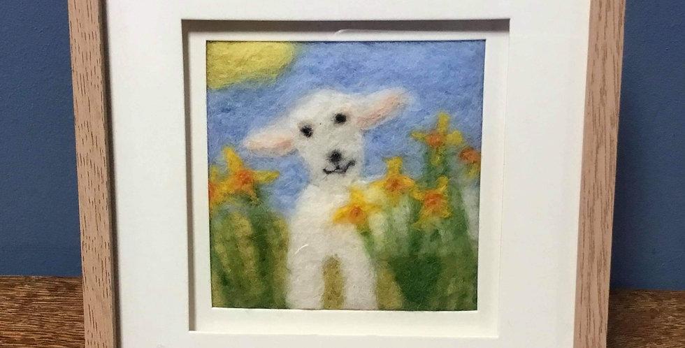'Spring Lamb' Needle Felt Art