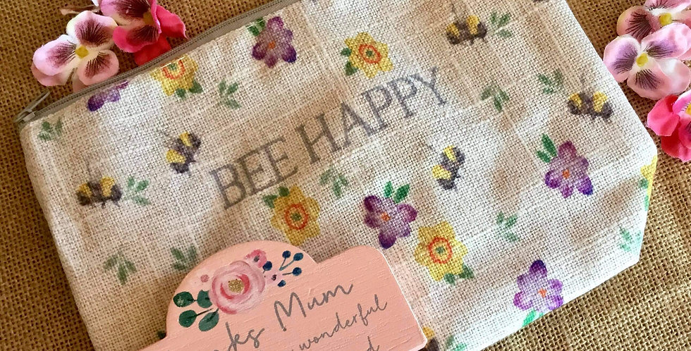 Bee Happy Linen Cosmetic Bag and Thanks Mum Block