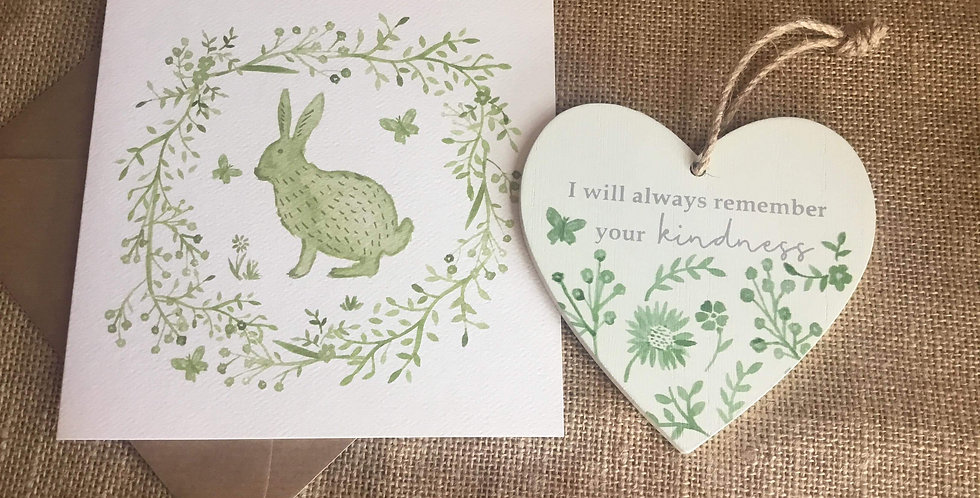 Sage Hare Card with Sage Heart .... I will always remember your kindness