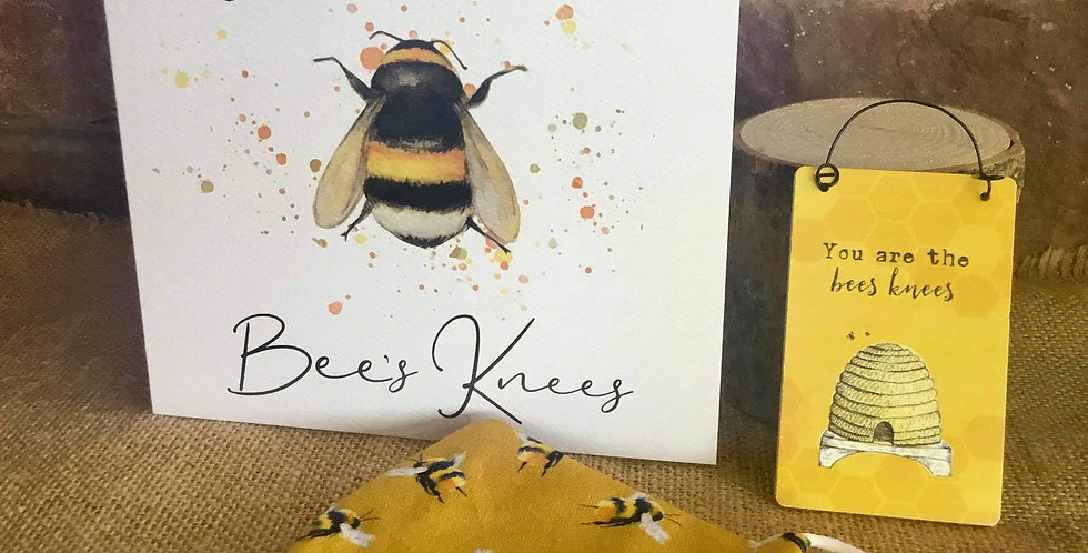 Mustard Bee Mask, Mini Bees Knees Sign  and Card