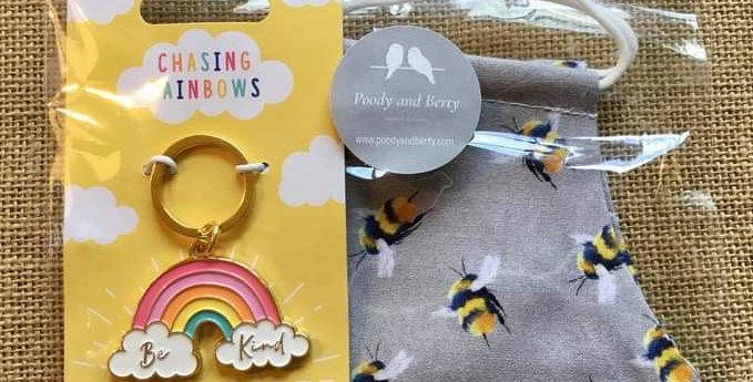 Grey Bee Face Mask and Rainbow Keyring  gift