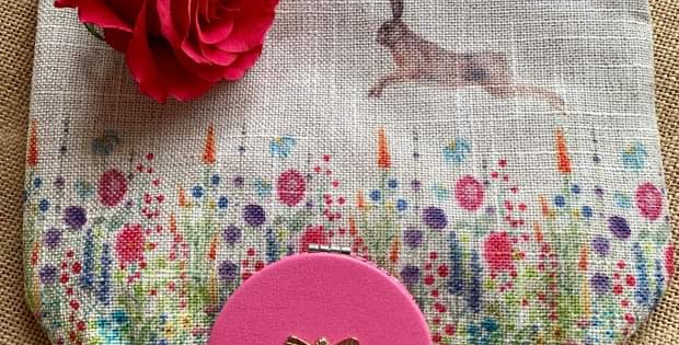 Pretty Hare Linen Cosmetic Bag and Compact Mirror