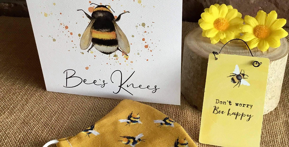 Mustard Bee Mask, Mini Sign Bee Happy and Card