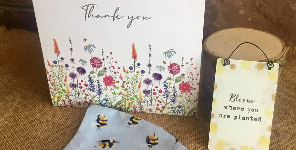 Blue Bee Mask, Mini Bloom Sign  and Thank You Card