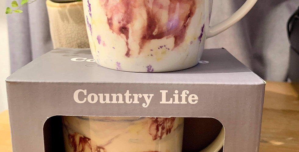 Pair of Highland Cow Country Life Design Mugs