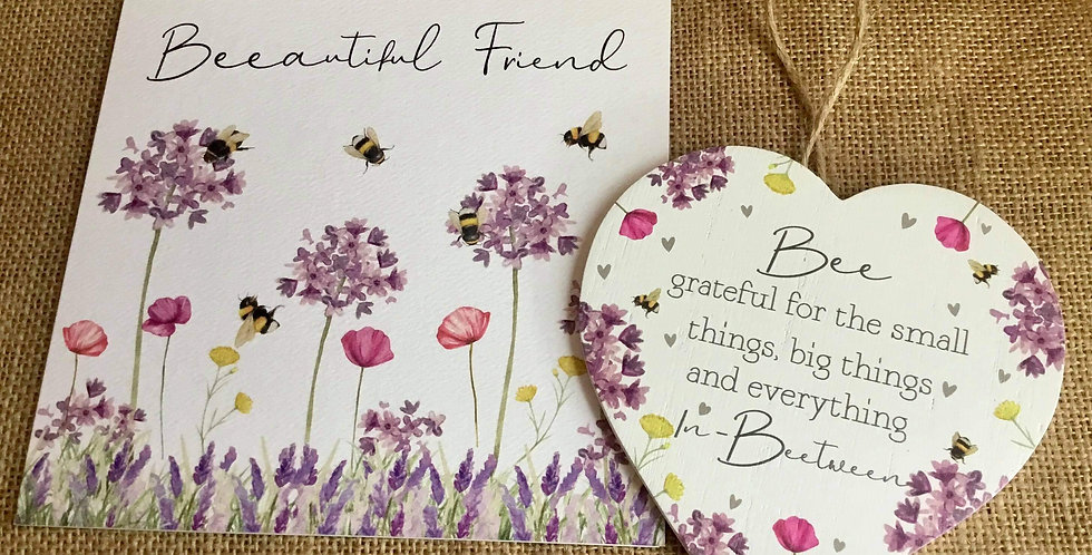 Beautiful Friend Card with Bee Heart....Bee grateful for the small things.....
