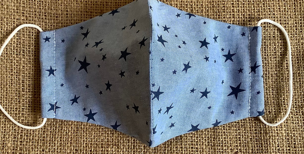 Men's Blue with Navy Stars Face Mask