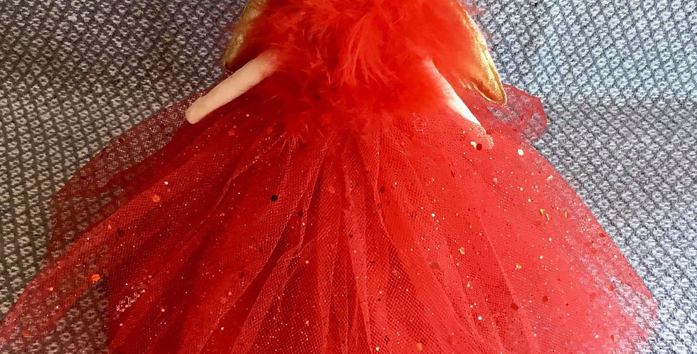 Tree topper fairy in red tulle