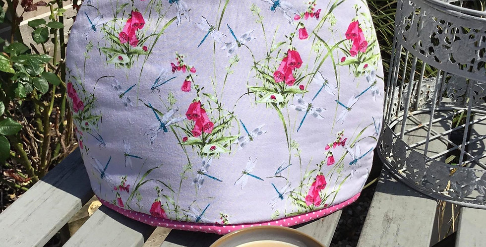 Grey Tea Cosy with Pink Foxgloves and Dragonflies