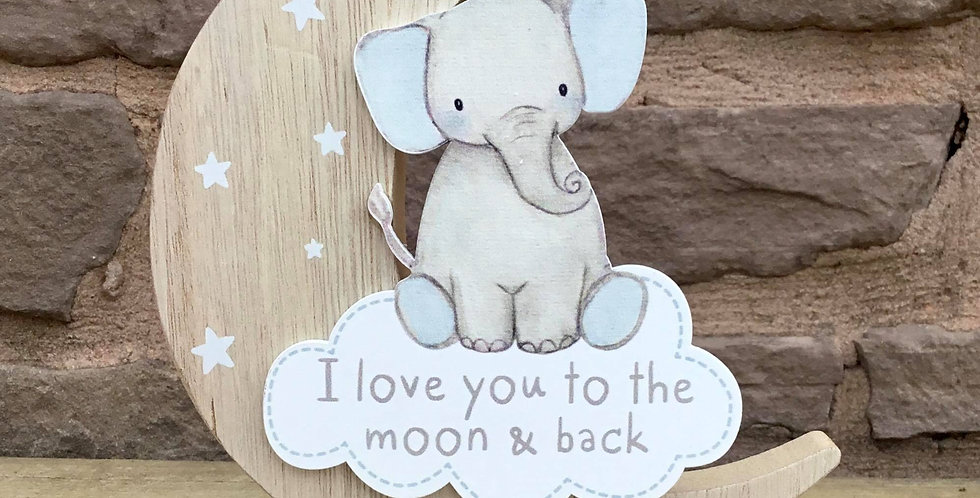 Baby Blue Elephant Moon Block