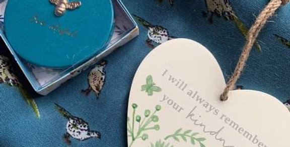Gift Set of Teal Pheasant Scarf, Compact and Heart