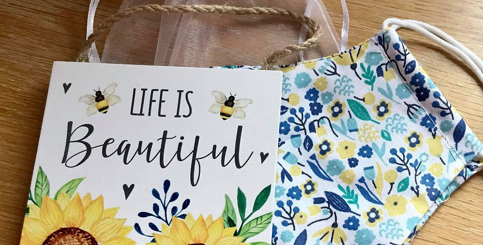 Blue Foral Face Mask and Sunflower sign gift set