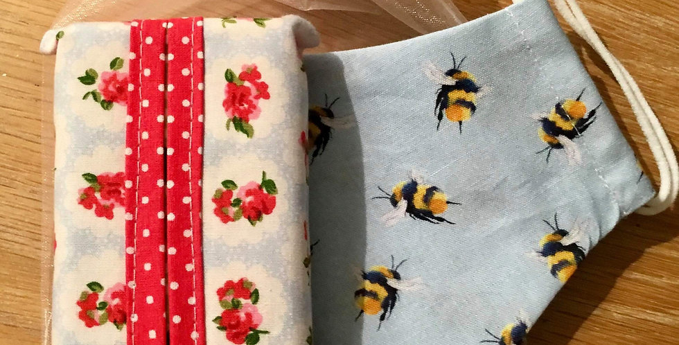 Blue Bee Face Mask and Handy Hanky Pouch