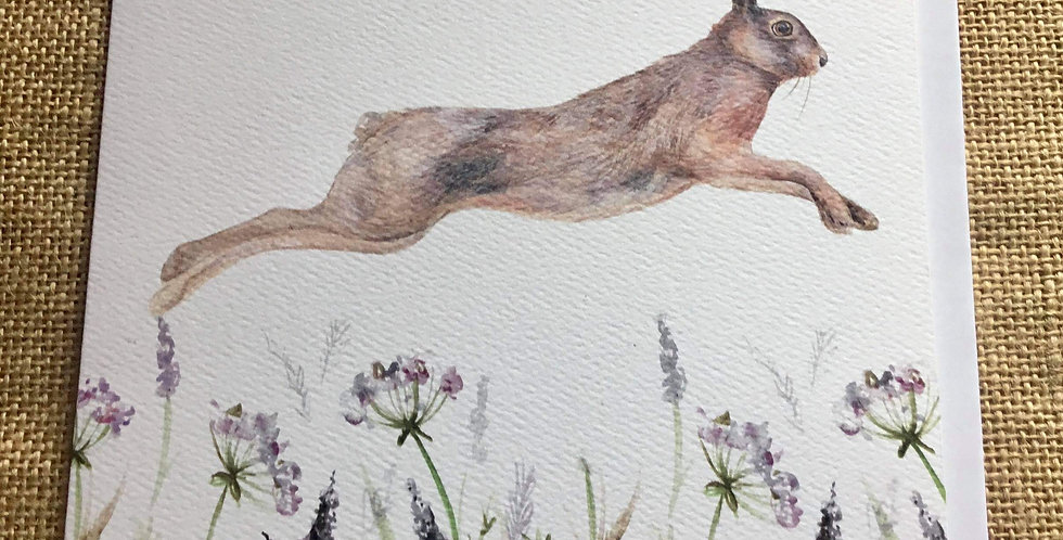 Leaping Hare Greetings Card