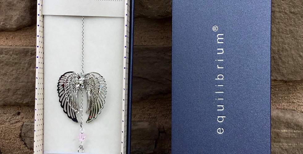 Angel Wings 3D Suncatcher with Pink Crystal
